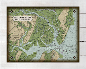 Shellman Bluff And Sapelo Sound Nautical Chart - On 100% Natural Linen