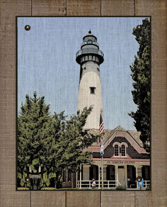 St Simons Lighthouse - On 100% Natural Linen