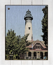 Load image into Gallery viewer, St Simons Lighthouse - On 100% Natural Linen