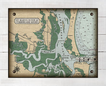 Load image into Gallery viewer, St Marys and Cumberland Sound Nautical Chart - On 100% Natural Linen
