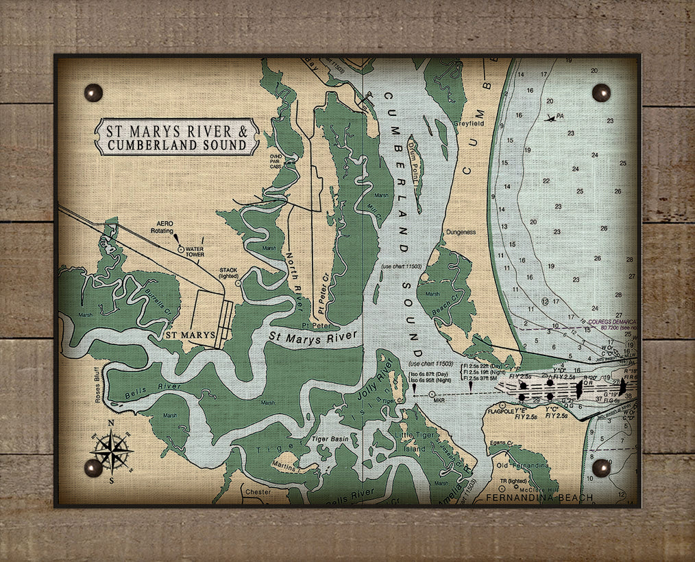 St Marys and Cumberland Sound Nautical Chart - On 100% Natural Linen