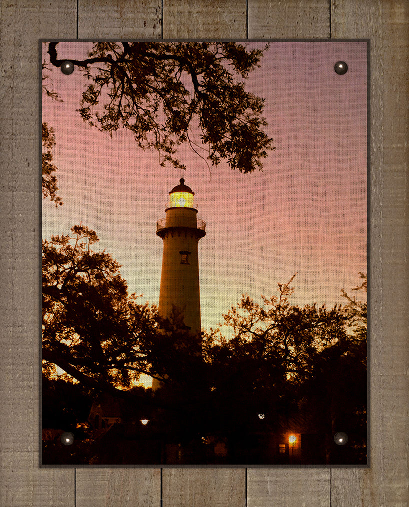 St Simons Lighthouse At Dawn - On 100% Natural Linen