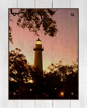 Load image into Gallery viewer, St Simons Lighthouse At Dawn - On 100% Natural Linen