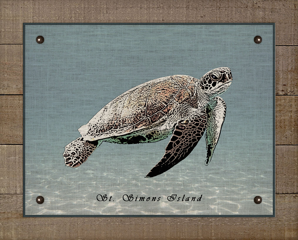St Simons Sea Turtle - On 100% Natural Linen