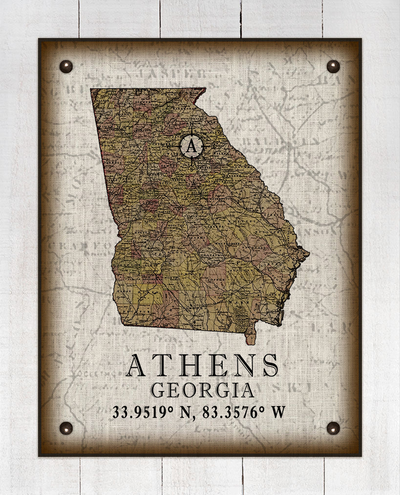 Athens Georgia Vintage Design On 100% Natural Linen