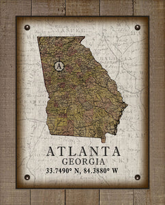Atlanta Georgia Vintage Design On 100% Natural Linen