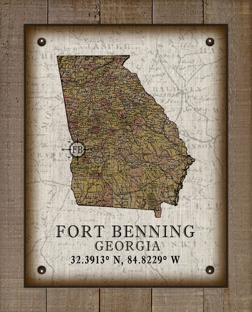 Fort Benning Georgia Vintage Design On 100% Natural Linen