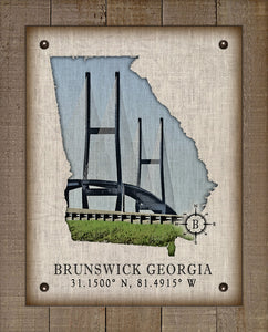 Brunswick Georgia Vintage Design (2) On 100% Natural Linen