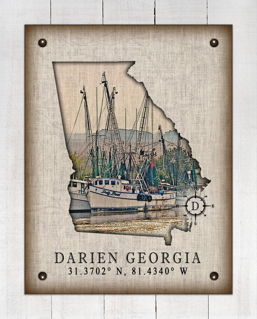 Darien Georgia Vintage Design (2) On 100% Natural Linen