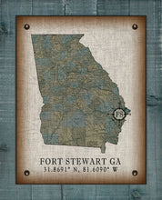 Load image into Gallery viewer, Fort Stewart Georgia Vintage Design (2) On 100% Natural Linen