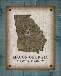 Macon Georgia Vintage Design On 100% Natural Linen