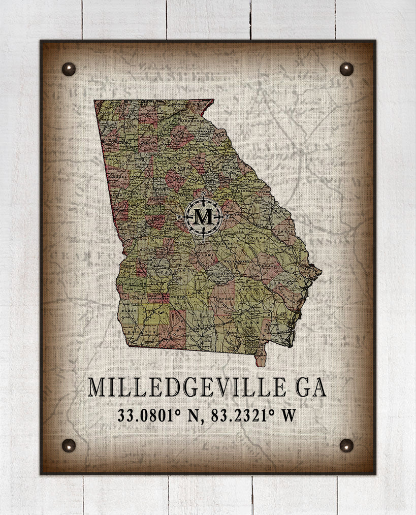 Milledgeville Georgia Vintage Design On 100% Natural Linen