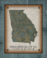 Load image into Gallery viewer, Shellman Bluff Georgia Vintage Design (Sea Oats) On 100% Natural Linen