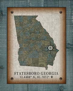Statesboro Georgia Vintage Design On 100% Natural Linen