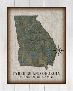 Tybee Island Georgia Vintage Design On 100% Natural Linen