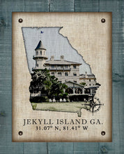 Load image into Gallery viewer, Jekyll Island Georgia Vintage Design (Hotel) On 100% Natural Linen
