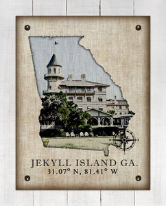 Jekyll Island Georgia Vintage Design (Hotel) On 100% Natural Linen