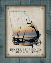 Load image into Gallery viewer, Jekyll Island Georgia Vintage Design (Driftwood Beach) On 100% Natural Linen