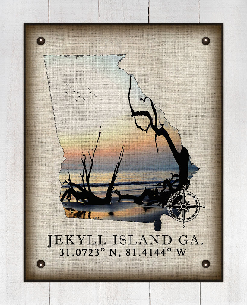 Jekyll Island Georgia Vintage Design (Driftwood Beach) On 100% Natural Linen