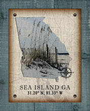 Load image into Gallery viewer, Sea Island Georgia Vintage Design (Sea Oats) On 100% Natural Linen
