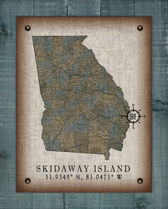 Skidaway Island Georgia Vintage Design (2) On 100% Natural Linen