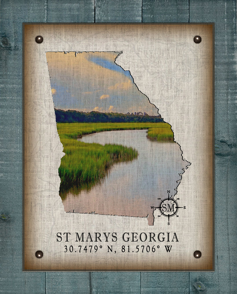 St Marys Georgia Vintage Design (Marsh) On 100% Natural Linen