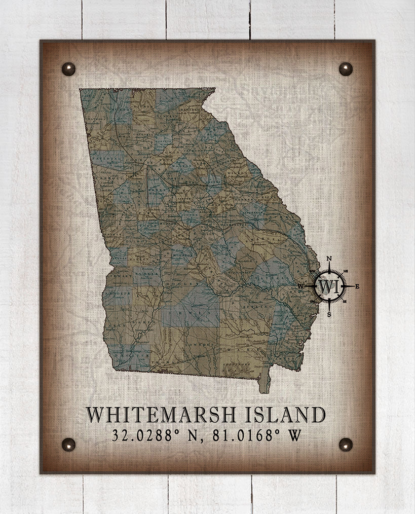 Whitemarsh Island Georgia Vintage Design On 100% Natural Linen