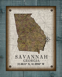 Savannah Georgia Vintage Design  On 100% Natural Linen