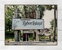 Load image into Gallery viewer, Tybee Island Welcome Sign - On 100% Natural Linen