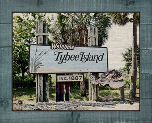 Tybee Island Welcome Sign - On 100% Natural Linen