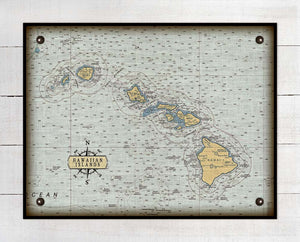 Hawaii Nautical Chart On 100% Natural Linen