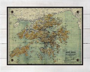 1800s Hong Kong Map - On 100% Natural Linen