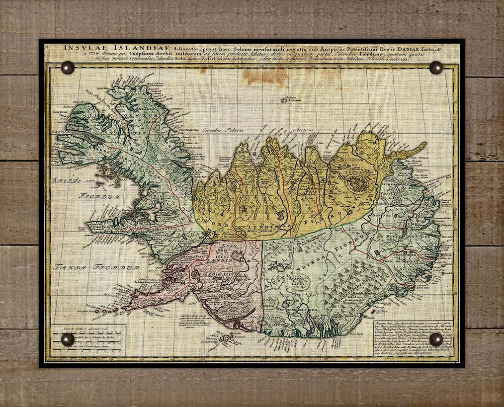 1761 Iceland Map - On 100% Natural Linen