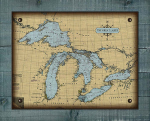 Great Lakes Nautical Chart On 100% Natural Linen