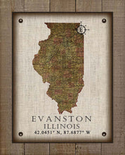 Load image into Gallery viewer, Evenston Illinois Vintage Design - On 100% Natural Linen