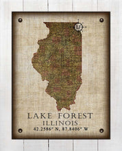Load image into Gallery viewer, Lake Forest Illinois Vintage Design - On 100% Natural Linen