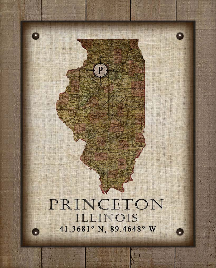 Princeton Illinois Vintage Design - On 100% Natural Linen