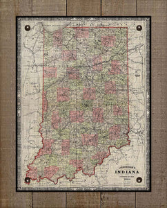 1864 Indiana Map - On 100% Natural Linen