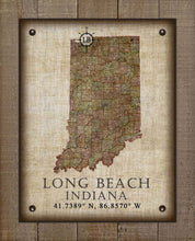 Load image into Gallery viewer, Long Beach Indiana Vintage Design - On 100% Natural Linen
