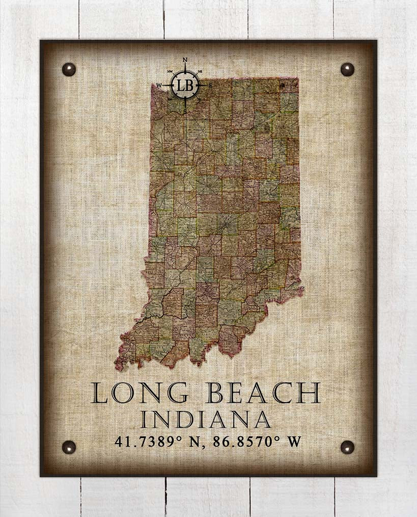 Long Beach Indiana Vintage Design - On 100% Natural Linen