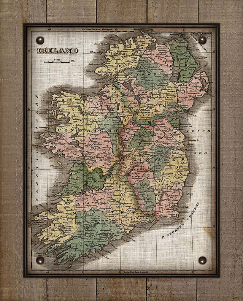 1800s Ireland Map - On 100% Natural Linen