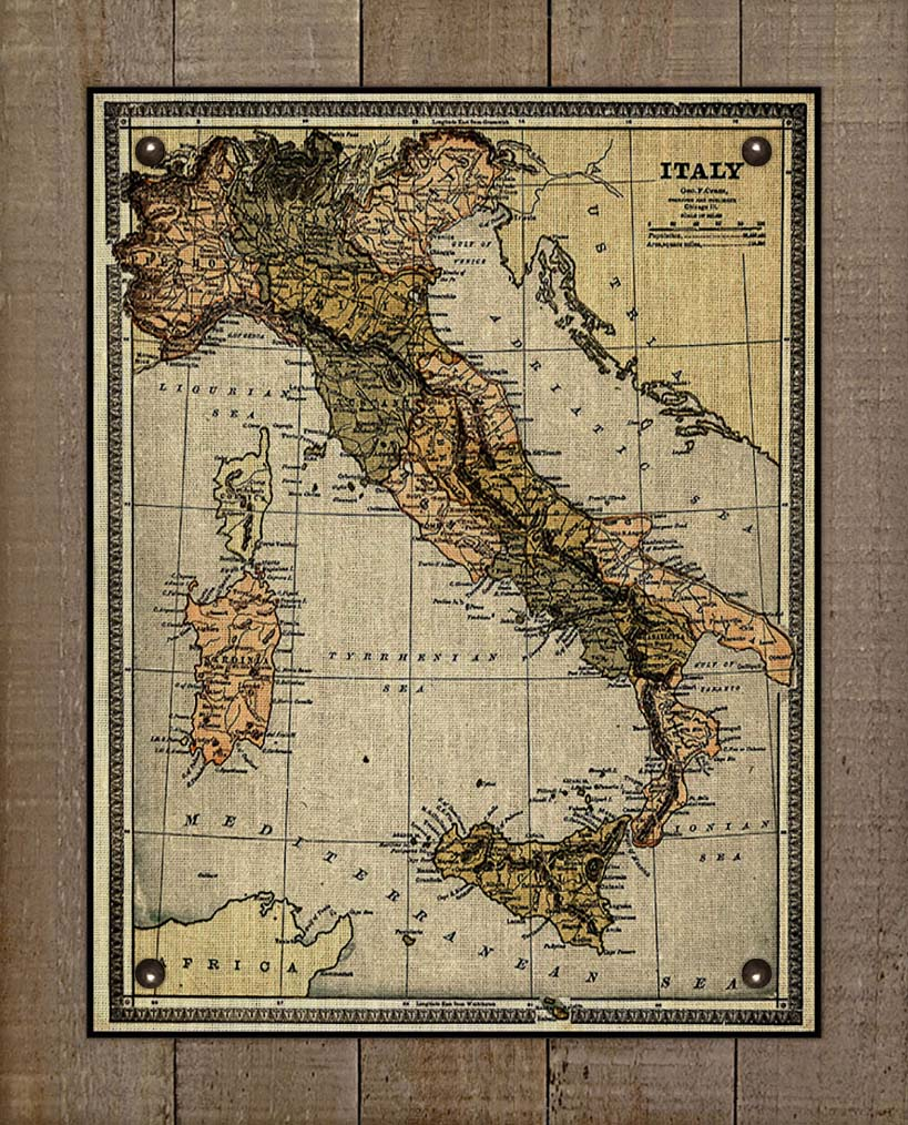 1800s Italy Map - On 100% Natural Linen