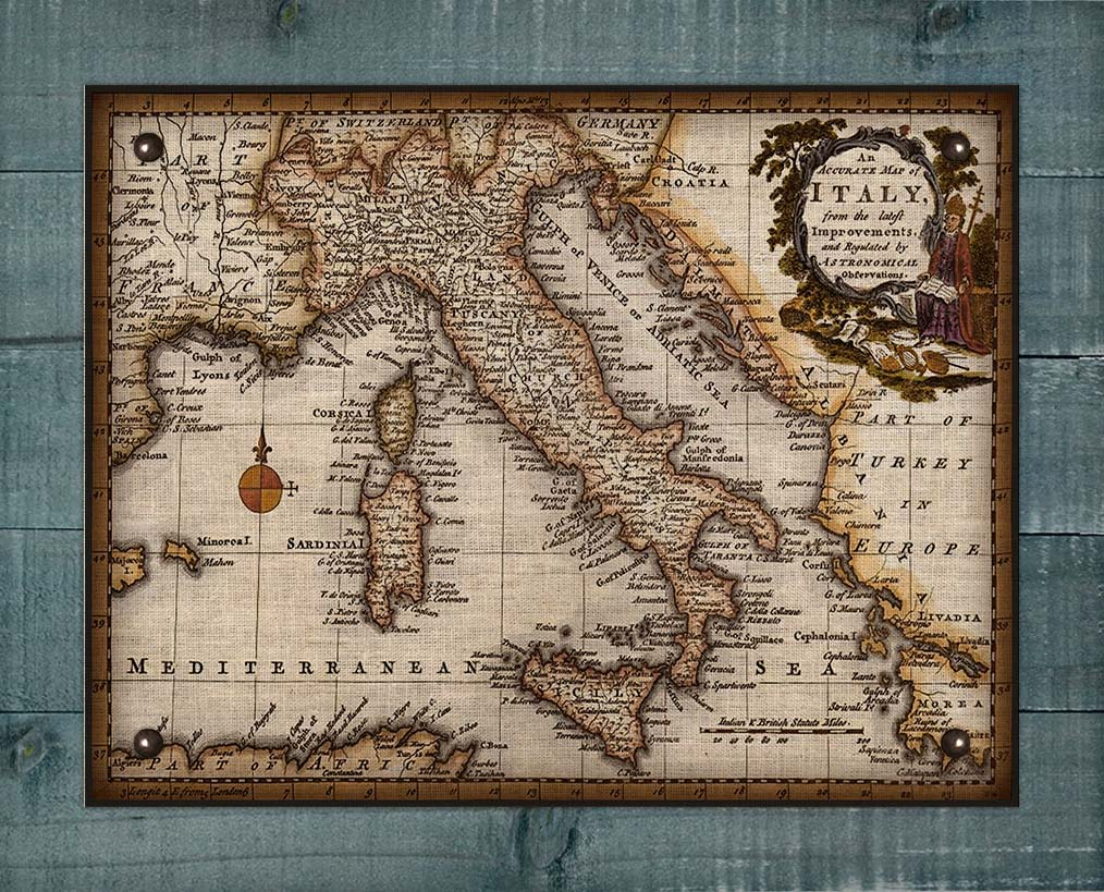 1800s Italy Map (2) - On 100% Natural Linen
