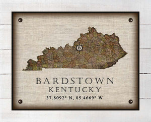 Bardstown Kentucky Vintage Design - On 100% Natural Linen