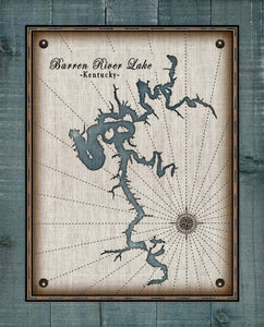 Barren River Lake Map Design - On 100% Natural Linen