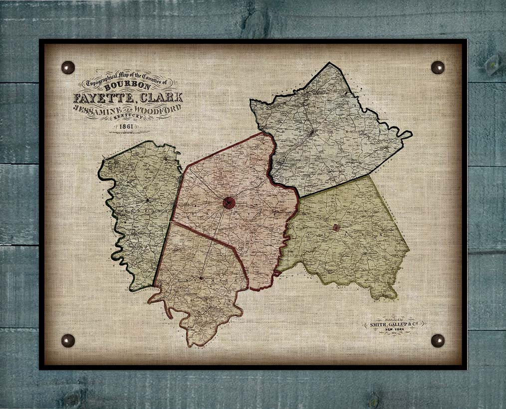 1861 Bourbon, Woodford, Fayette, Clark & Jessamine Counties Kentucky Map - On 100% Natural Linen