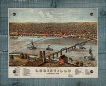 Load image into Gallery viewer, 1876 Louisville Kentucky Birds Eay Map - On 100% Natural Linen