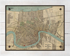 1919 New Orleans Map - On 100% Natural Linen