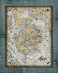 Acadia National Park & Bar Harbor Maine Nautical Chart On 100% Natural Linen