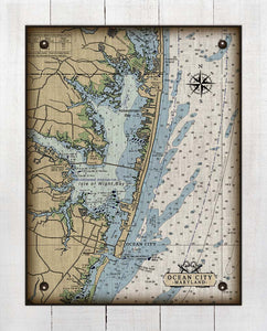 Maryland Ocean City Inlet And Bay Nautical Chart - On 100% Natural Linen